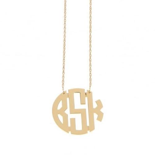 Medium Circle Gold Filigree Monogram Necklace