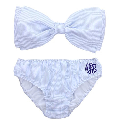 Monogrammed Seersucker Bow Bikini