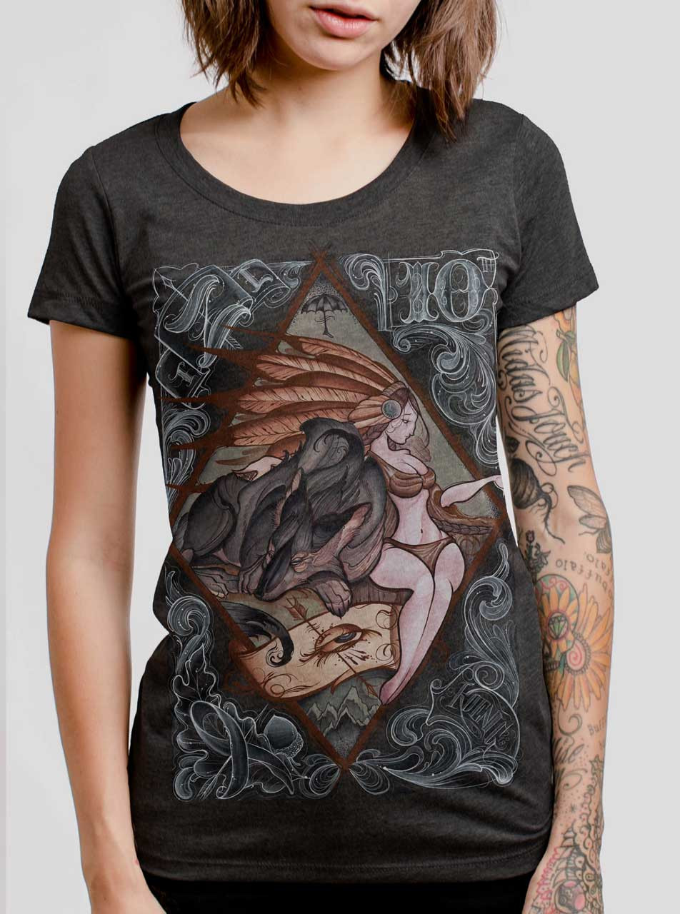 Lady and the Wolf - Multicolor on Heather Black Triblend Womens T-Shirt