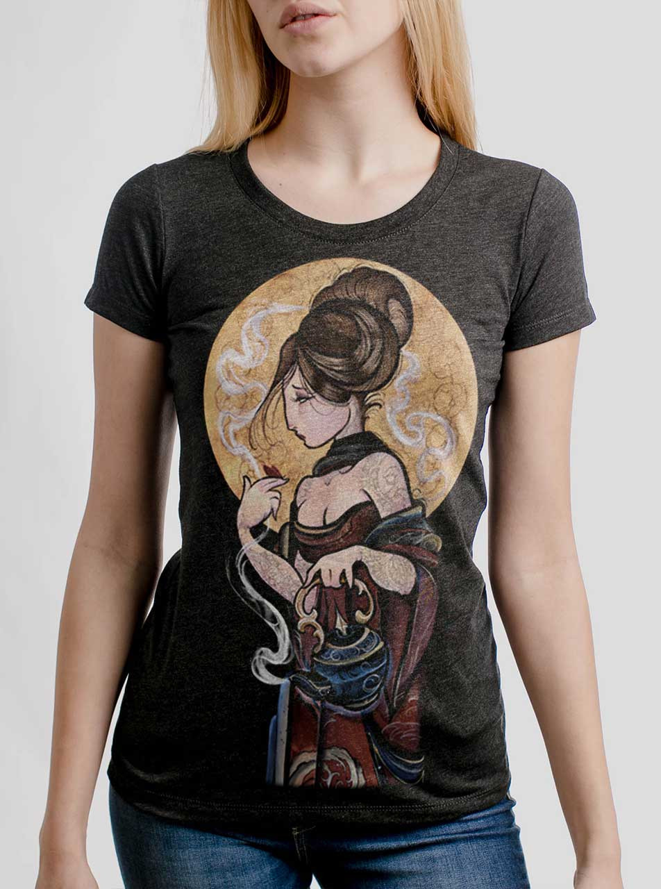 Moonlight Lady - Multicolor on Heather Black Triblend Womens T-Shirt