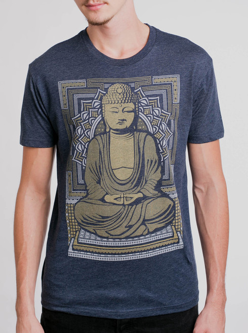 Buddha - Multicolor on Heather Navy Mens T Shirt