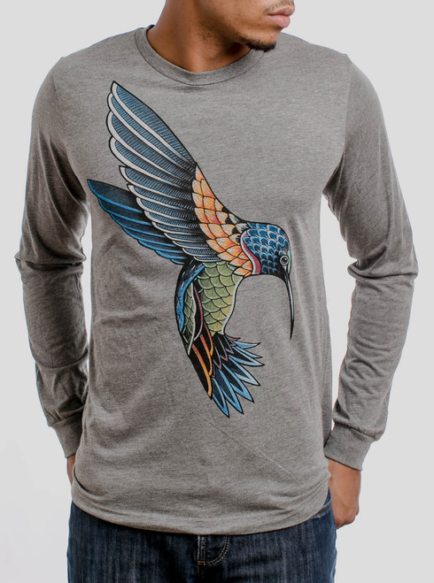 Hummingbird - Multicolor on Heather Grey Triblend Men's Long Sleeve