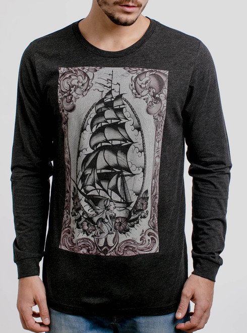 Clipper Ship - Multicolor on Heather Black Triblend Men's Long Sleeve
