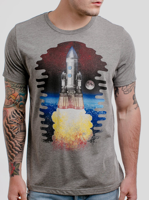 Spaceship - Multicolor on Heather Grey Triblend Mens T Shirt
