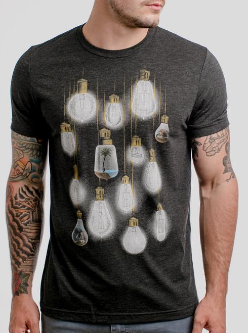 Light Bulbs - Multicolor on Heather Black Triblend Mens T Shirt