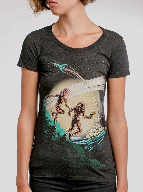 Space Travelers - Multicolor on Heather Black Triblend Womens T-Shirt