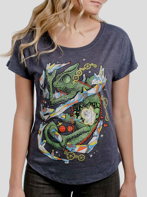 Chameleon - Multicolor on Heather Navy Triblend Womens Dolman T Shirt