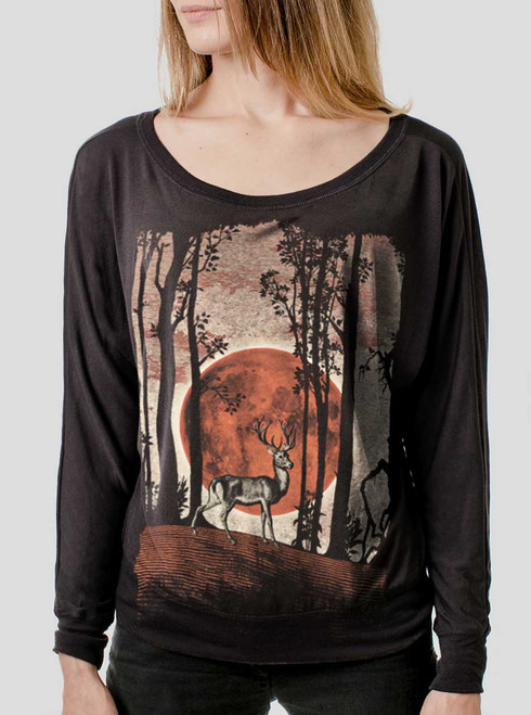 Buck Moon - Multicolor on Black Women's Long Sleeve Dolman