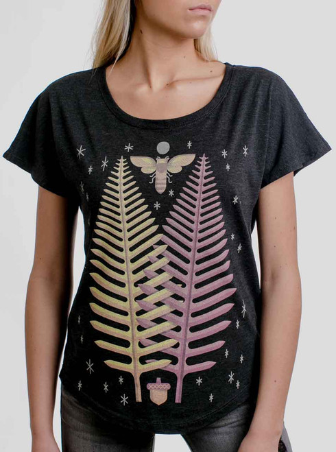 Slow Growth Fern - Multicolor on Heather Black Triblend Womens Dolman T Shirt