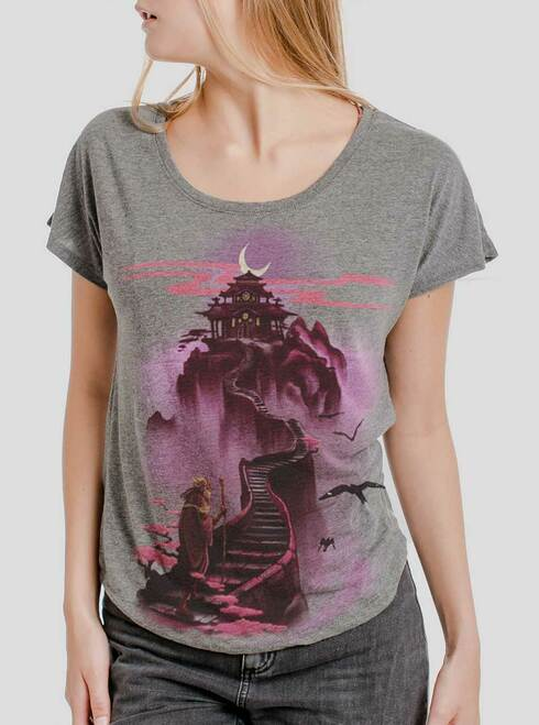 Ascending - Multicolor on Heather Grey Triblend Womens Dolman T Shirt