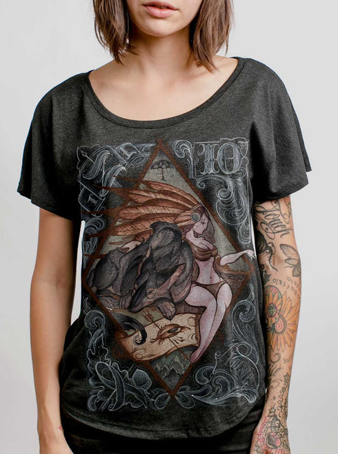 Lady and the Wolf - Multicolor on Heather Black Triblend Womens Dolman T Shirt