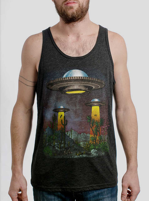 UFOs - Multicolor on Heather Black Triblend Mens Tank Top