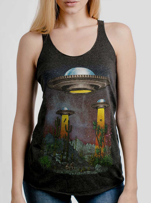 UFOs - Multicolor on Heather Black Triblend Womens Racerback Tank Top