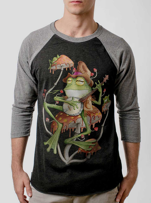 Folk Frog - Multicolor on Heather Black and Grey Triblend Raglan