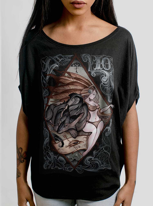 Lady and the Wolf - Multicolor on Black Women's Circle Top