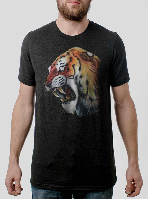 Tiger's Head - Multicolor on Heather Black Triblend Mens T Shirt