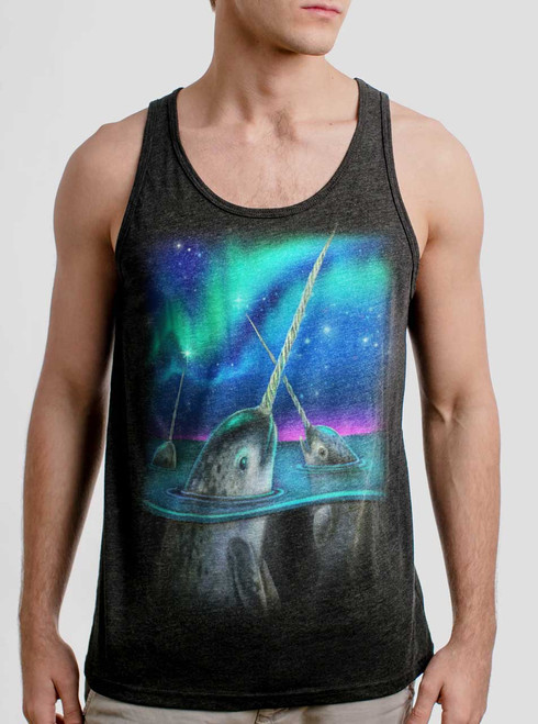 Narwhals - Multicolor on Heather Black Triblend Mens Tank Top