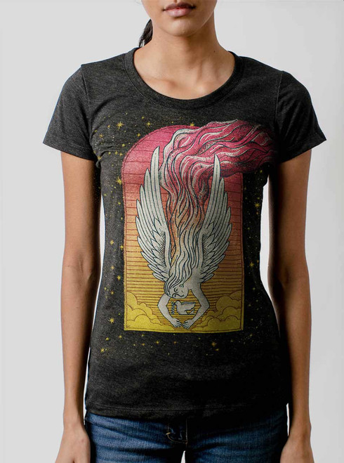 Angel - Multicolor on Heather Black Triblend Womens T-Shirt