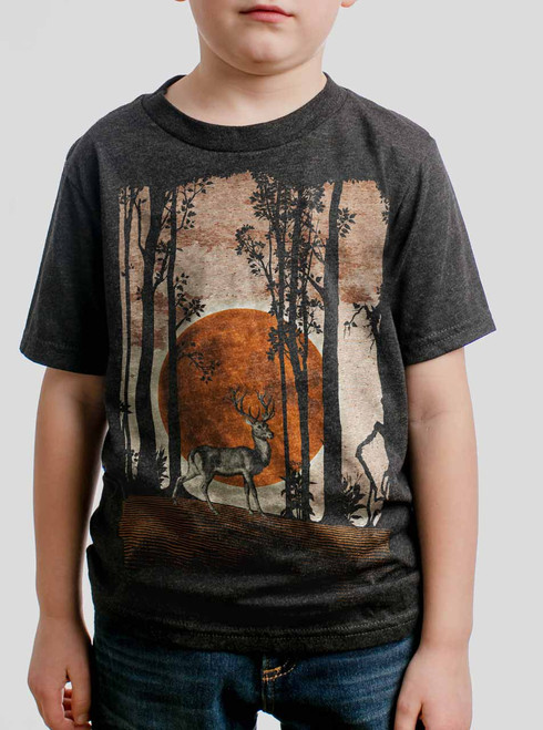 Buck Moon - Multicolor on Heather Black Triblend Youth T-Shirt
