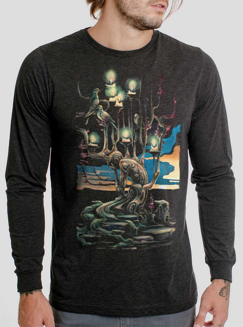 Mourning - Multicolor on Heather Black Triblend Men's Long Sleeve