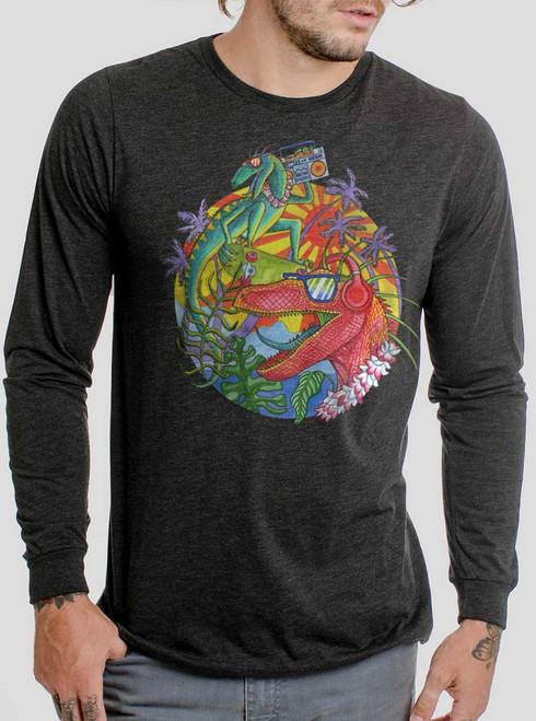 Rad Raptors - Multicolor on Heather Black Triblend Men's Long Sleeve