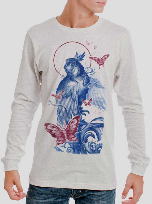 Owl and Moths - Multicolor on Heather White Men's Long Sleeve