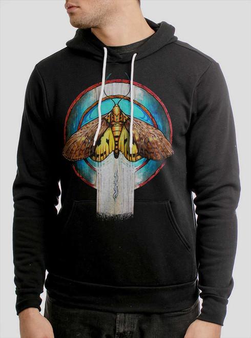 Moth - Multicolor on Black Men's Pullover Hoodie