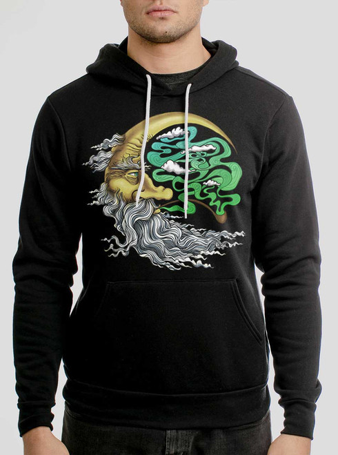 Man in the Moon - Multicolor on Black Men's Pullover Hoodie