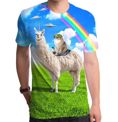 Cat Rides Llamacorn Sublimated T-Shirt