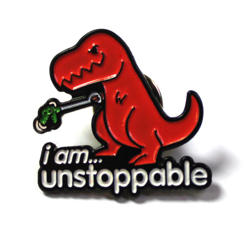 I Am Unstoppable Dino Enamel Lapel Pin