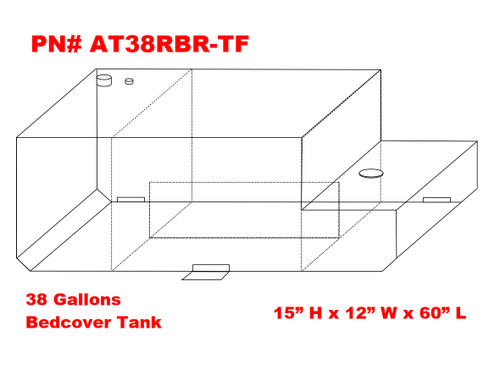 AT38RBR-TF - DOT Legal Transfer Tank  PN# AT38RBR-TF. 38 gallon aluminum under tonneau bedcover transfer tank. Legal for use with Diesel, Gasoline, Ethanol, Methanol and Aviation Fuel. Made by Aluminum Tank & Tank Accessories, Inc.