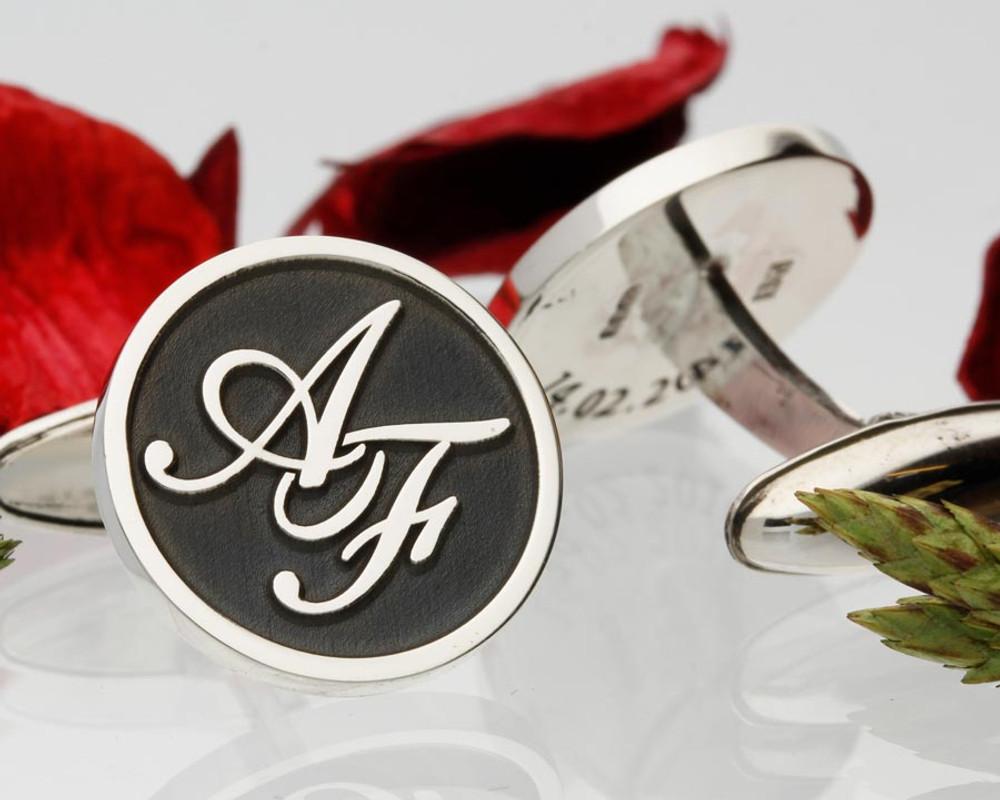 Monogram Silver Cufflinks - Negative Engraving