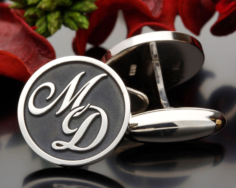 Monogram silver cufflinks MD Negative Engraving