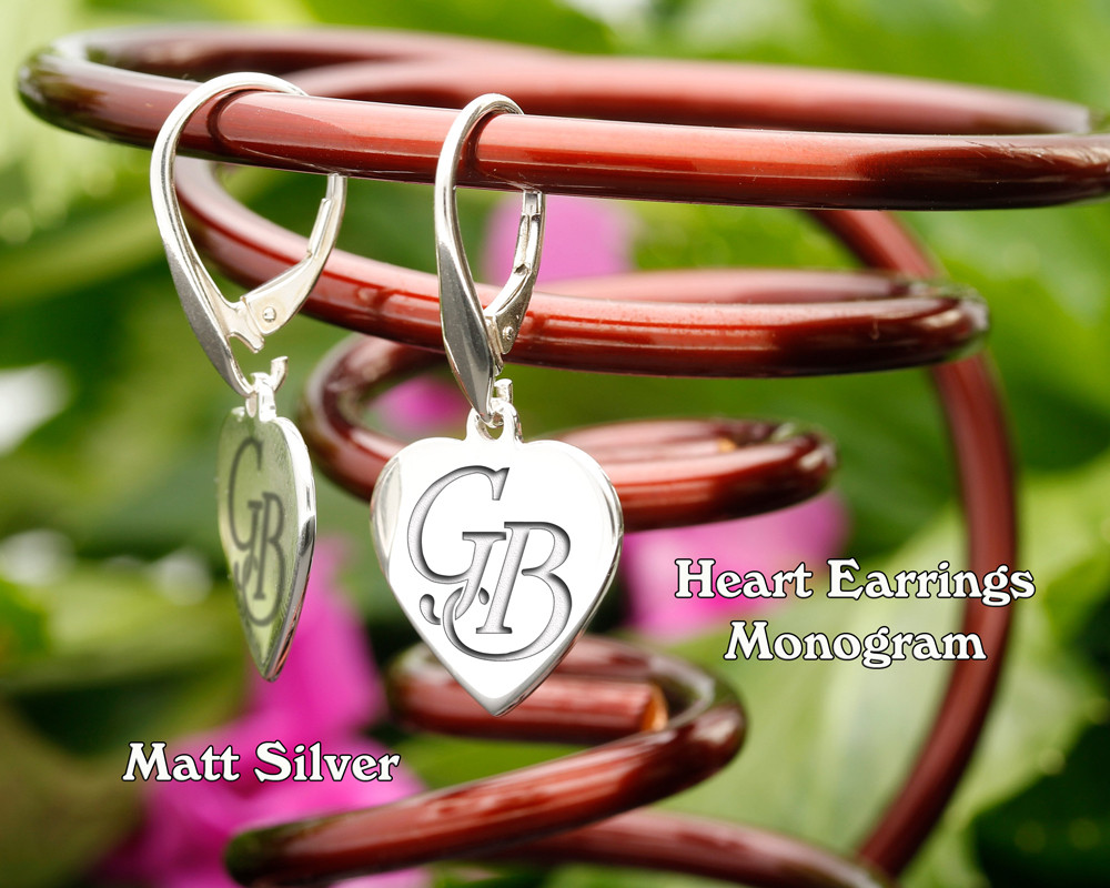 Heart Personalised Monogram Silver Earrings Matt Silver