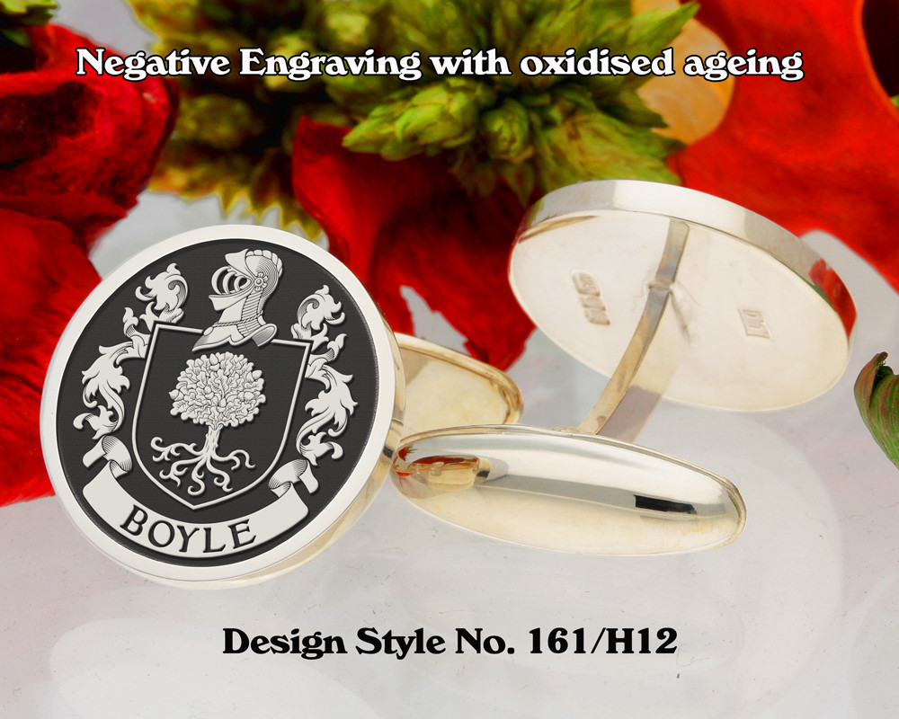 Boyle Family Crest Negative Engraving Cufflinks