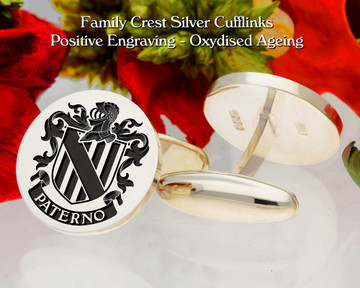 Paterno  (Italy) Family Crest Cufflinks Positive Oxidised
