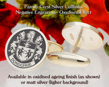 Donoghue Family crest cufflinks - negative engraving, oxidised