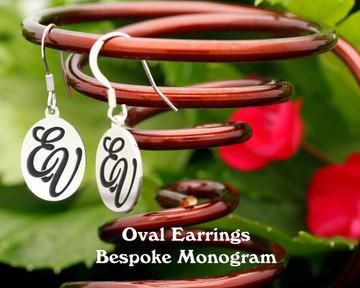 Oval Personalised Monogram Silver Earrings