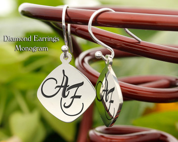 Diamond Personalised Monogram Silver Earrings