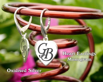 Heart Personalised Monogram Silver Earrings Oxidised
