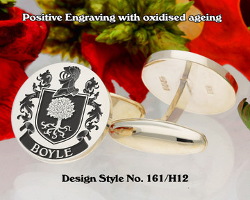 Boyle Family Crest Positive Engraving Cufflinks