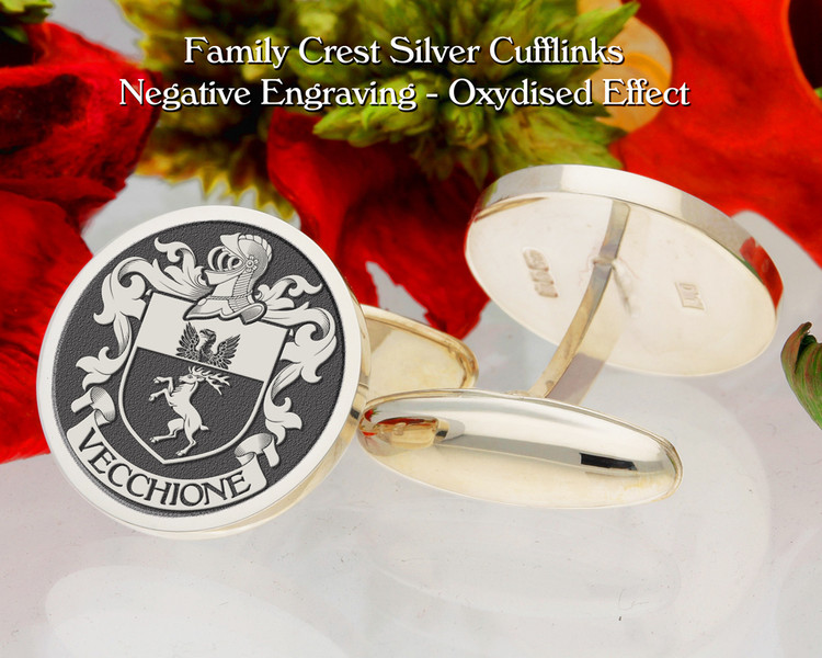 Vecchione  (Italy) Family Crest Cufflinks Negative Oxidised