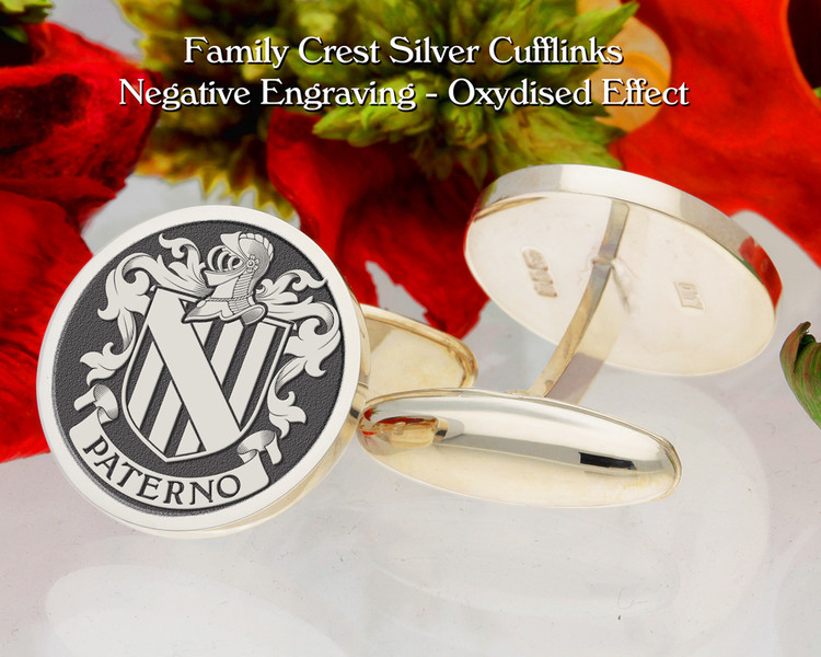 Paterno  (Italy) Family Crest Cufflinks Negative Oxidised