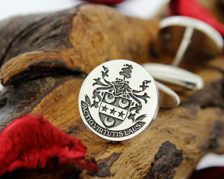 Ashburner family crest silver mens cufflinks bespoke design laser engraved
