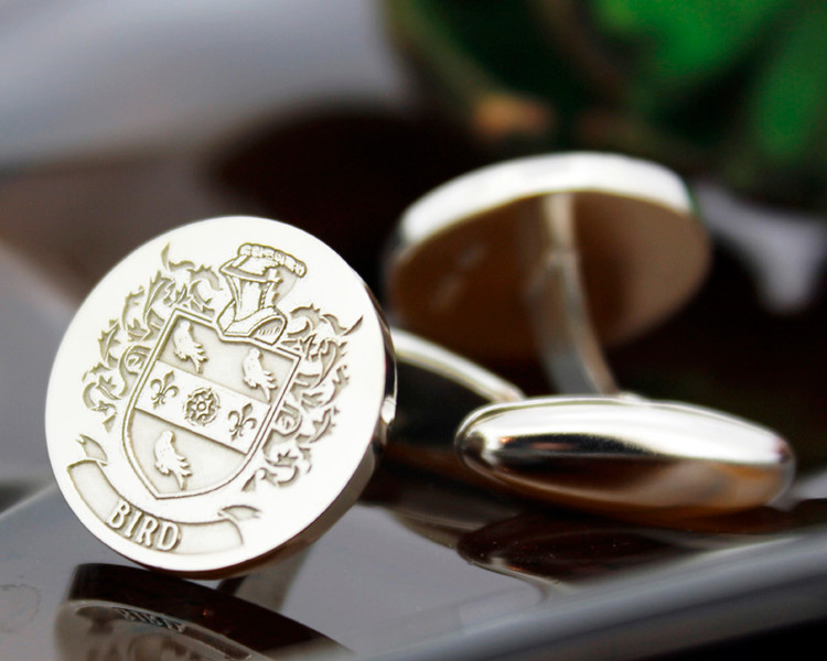 Bird Family Crest Mens Silver Cufflinks, laser engraved, oxidised ageing