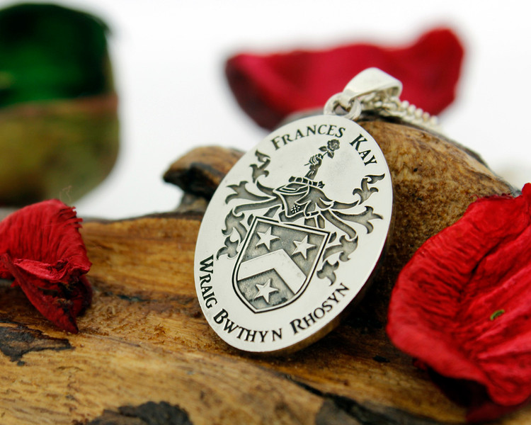 SHERWOOD Engraved Pendant design, also available in Silver Cufflinks, other designs also available, full customised.