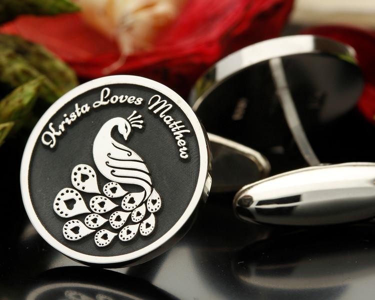 Love Peacock Silver Cufflinks Personalised