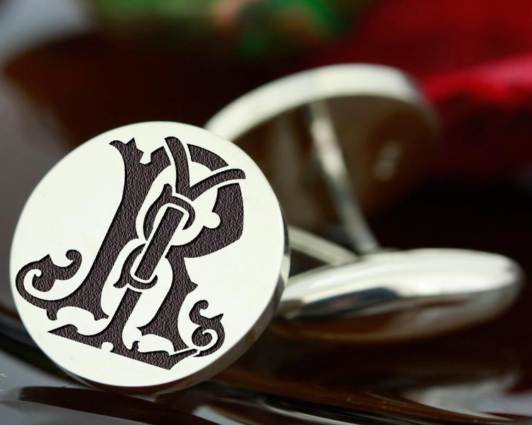 Victorian Monogram Silver Mens Cufflinks - LR RL - oxidised ageing recommended
