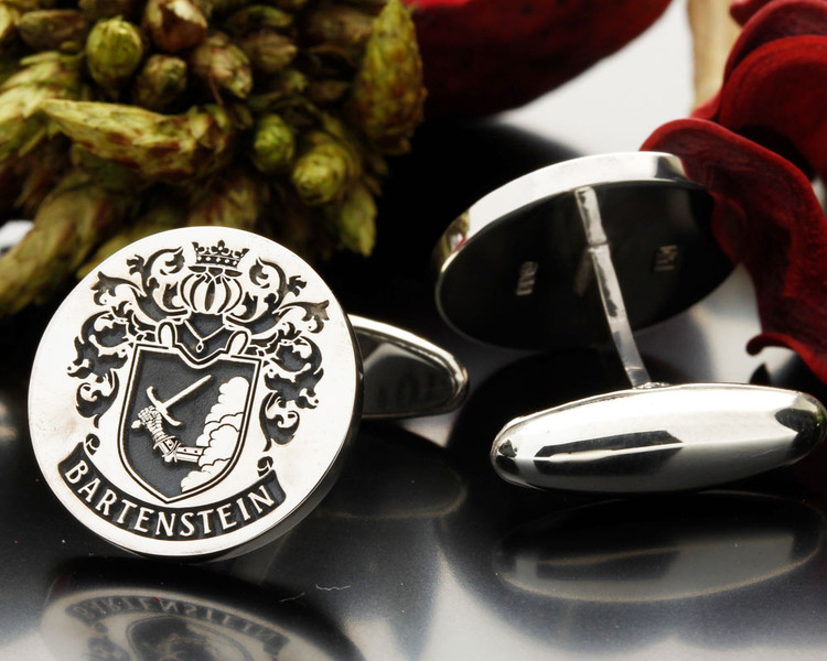 Bartenstein family crest cufflinks Design 16 oxidised