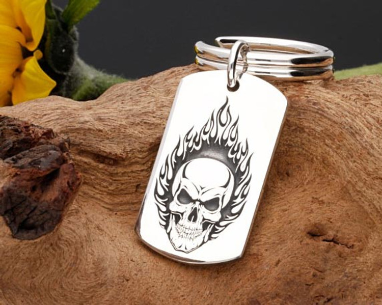 Flaming Skull Design - Solid Sterling Silver Keyring with silver split ring, weight 20g